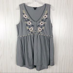 Torrid | Grey Embroidered Babydoll Tank Top